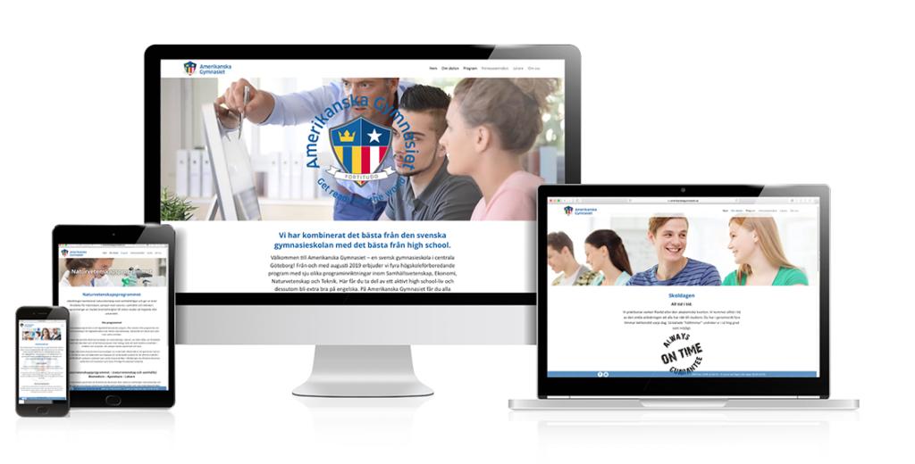 Amerikanska Gymnasiet webbsida