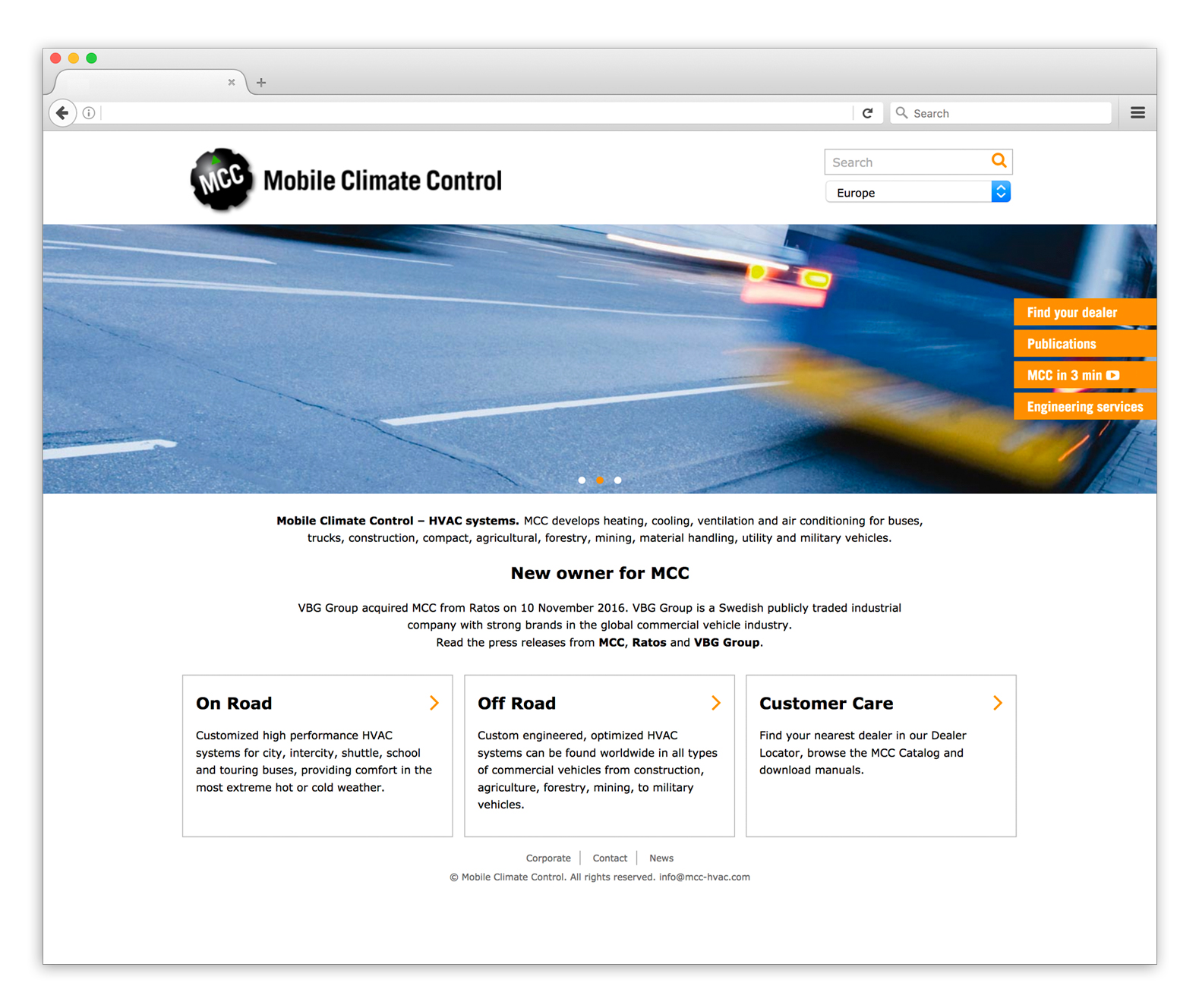 Mobile Climate Control websida
